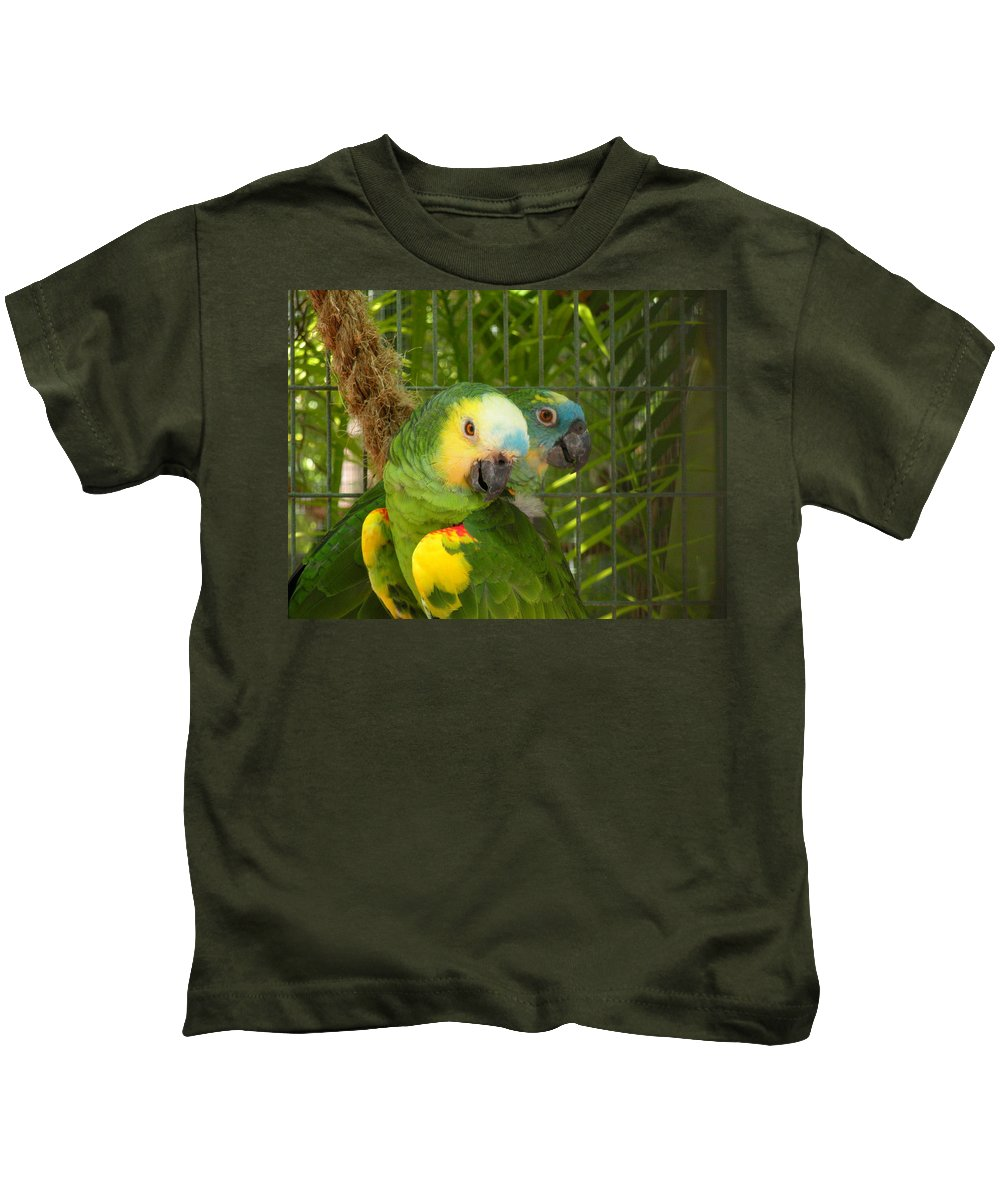 Birds Kids T-Shirt featuring the photograph Feathered Friends by Maria Bonnier-Perez