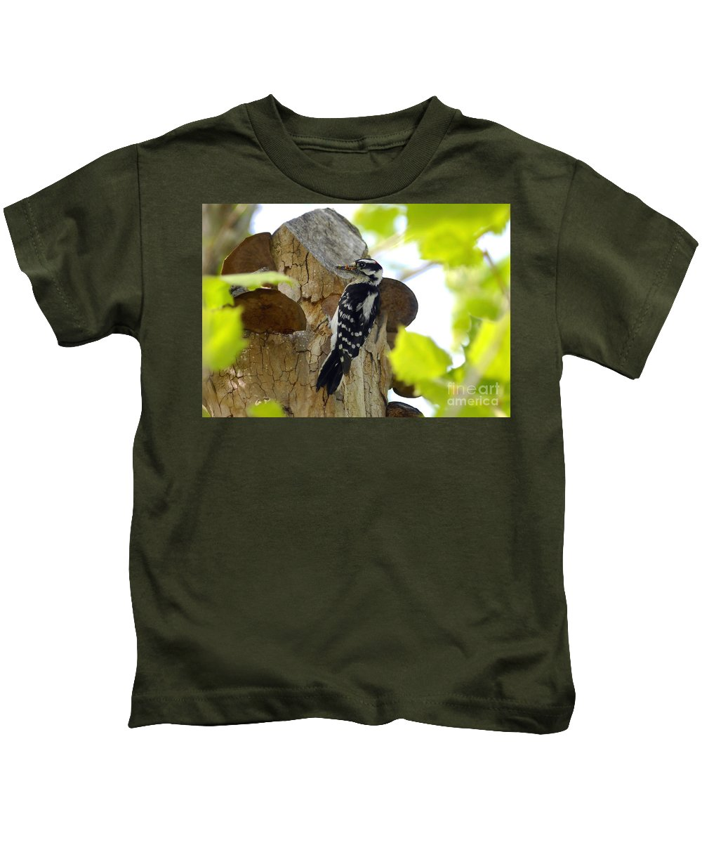 Downy Woodpecker Kids T-Shirt featuring the photograph Feeding Time by David Lee Thompson
