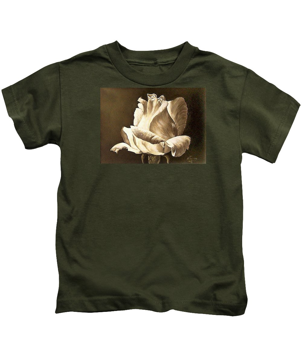 Rose Flower Kids T-Shirt featuring the painting Feeling The Light by Natalia Tejera