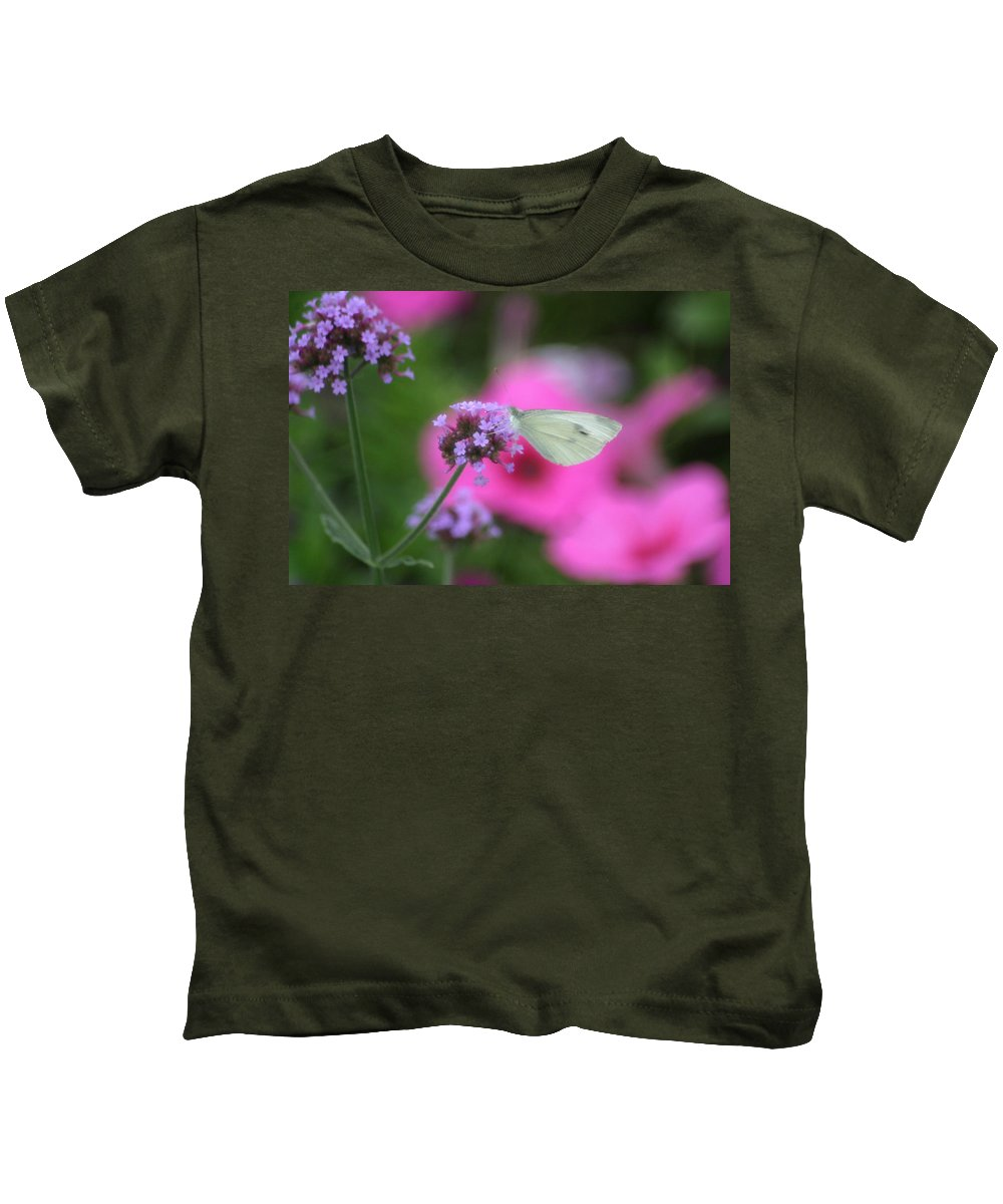 White Cabbage Butterfly Kids T-Shirt featuring the photograph Feminine Side Of Nature by Living Color Photography Lorraine Lynch