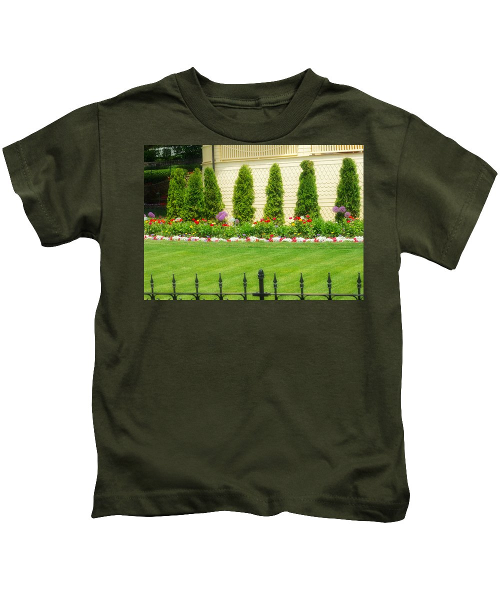 Trees Kids T-Shirt featuring the photograph Fence Lined Garden by Kendall Tabor