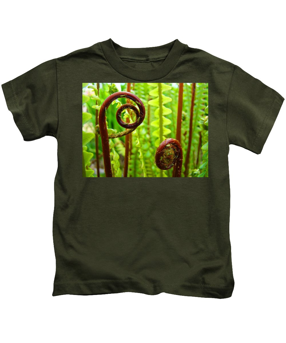 Fern Kids T-Shirt featuring the photograph Fern Fronds Fine Art Photography Forest Ferns Green Baslee Troutman by Baslee Troutman