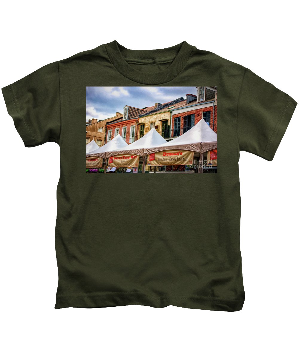 French Kids T-Shirt featuring the photograph Festival New Orleans Seafood - French Quarter by Kathleen K Parker