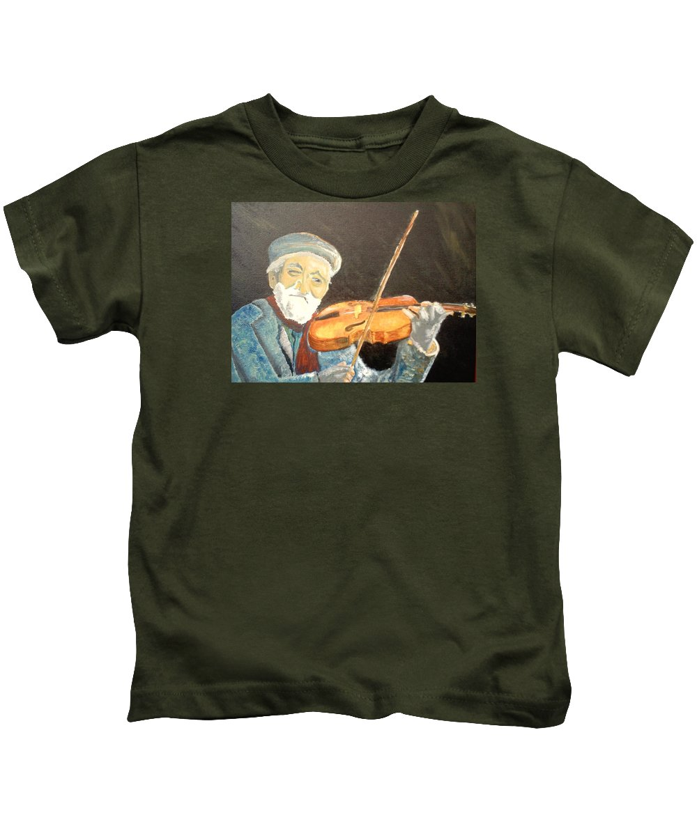 Hungry He Plays For His Supper Kids T-Shirt featuring the painting Fiddler Blue by J Bauer