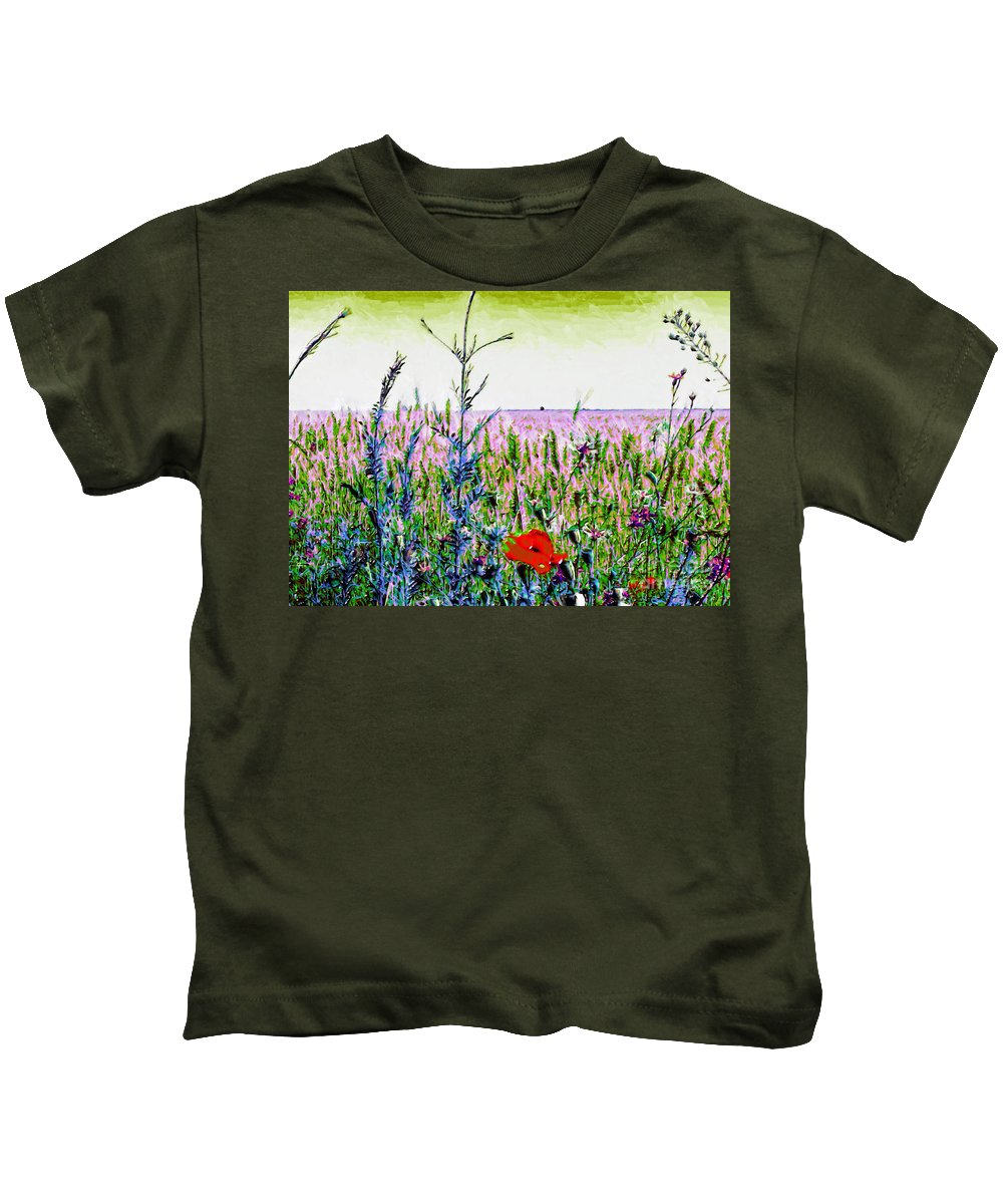 Wheatfield Kids T-Shirt featuring the painting Field Notes by GabeZ Art