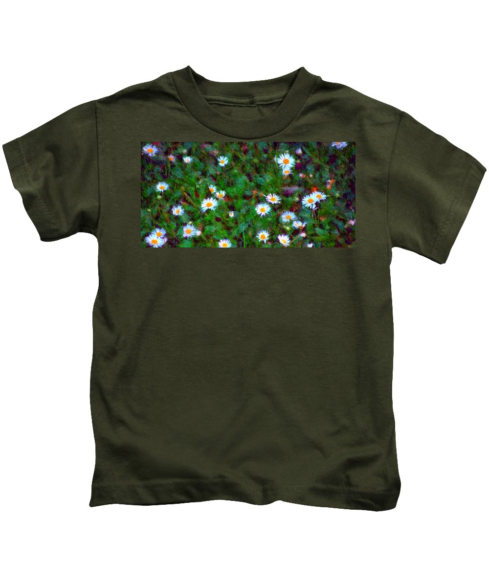 Digital Photograph Kids T-Shirt featuring the photograph Field Of Daisys by David Lane