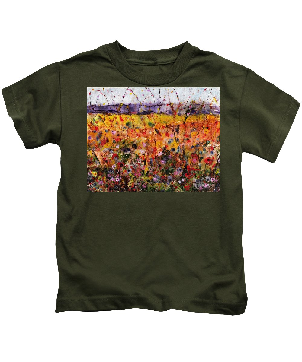 Flowers Kids T-Shirt featuring the painting Field Of Dreams by Frances Marino