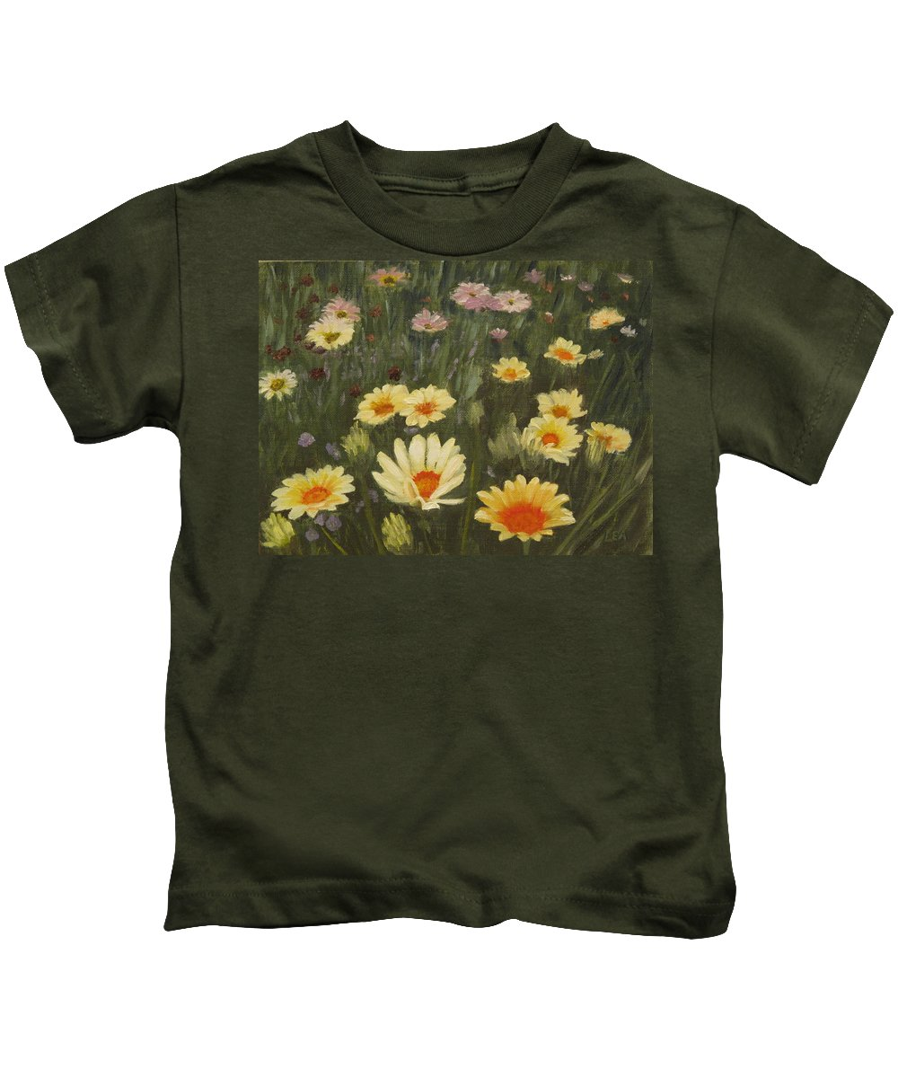 Flower Kids T-Shirt featuring the painting Field Of Flowers by Lea Novak