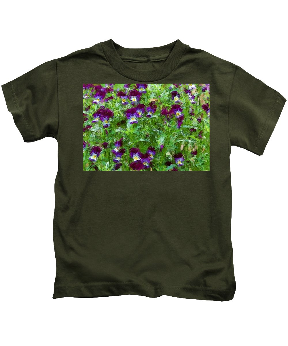 Digital Photograph Kids T-Shirt featuring the photograph Field Of Pansy's by David Lane