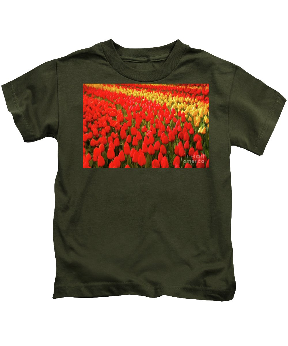 Landscape Kids T-Shirt featuring the painting Field Of Tulips by Sarah Kirk