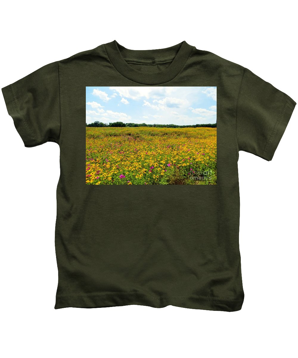 Field Of Wildflowers Kids T-Shirt featuring the pyrography Field Of Wildflowers by Tim Townsend