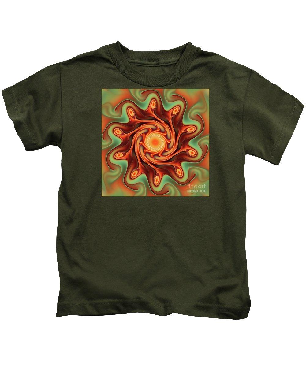 Fractal Art Kids T-Shirt featuring the digital art Fiery Dance by Deborah Benoit