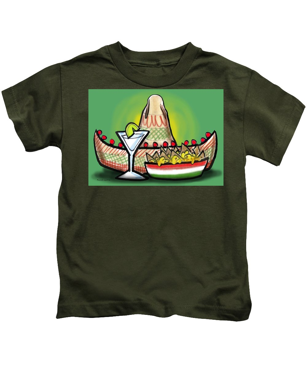 Fiesta Kids T-Shirt featuring the greeting card Fiesta by Kevin Middleton
