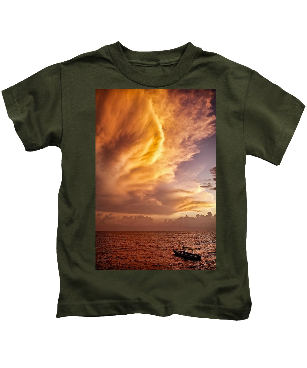 Jamaica Kids T-Shirt featuring the photograph Fire In The Sky by Dave Bowman