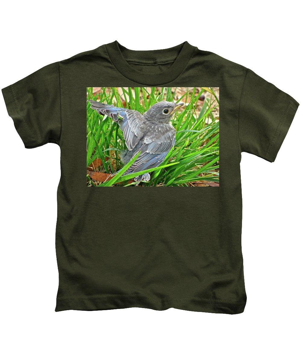 Bird Kids T-Shirt featuring the photograph First Flight by Diana Hatcher