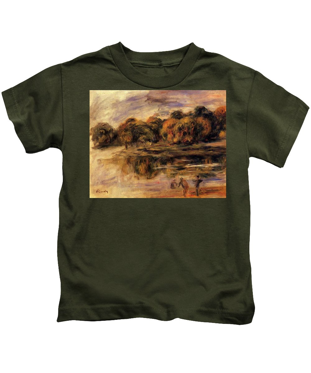 Fishermen Kids T-Shirt featuring the painting Fishermen By A Lake by Renoir PierreAuguste