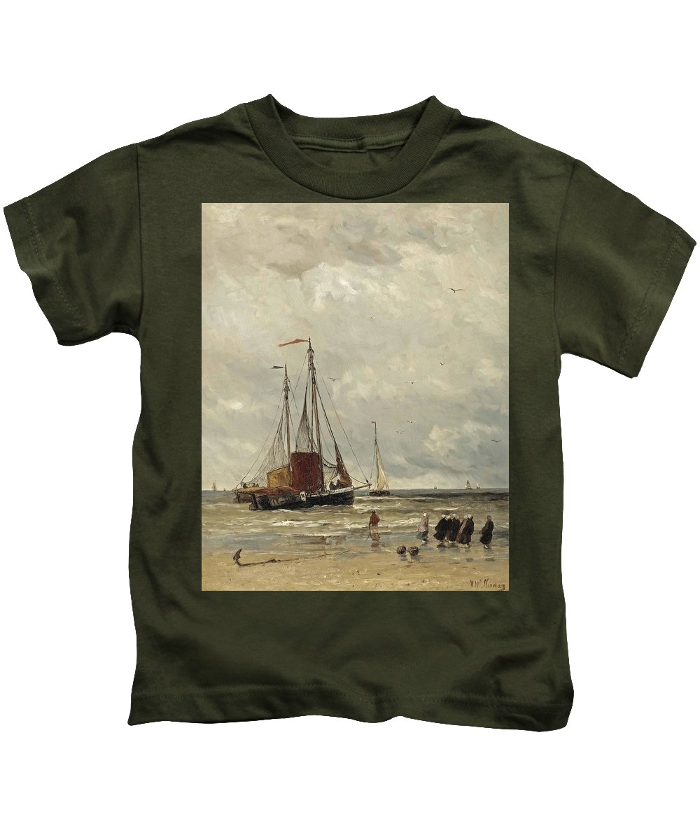 Hendrik Willem Mesdag (groningen 1831-1915 The Hague) Fishing Barges At Low Tide Kids T-Shirt featuring the painting Fishing Barges At Low Tide by Hendrik Willem Mesdag