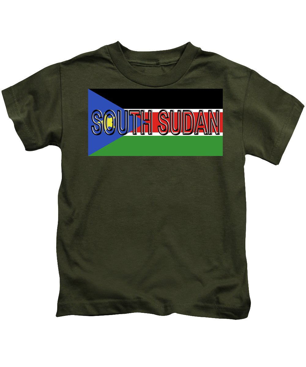 Africa Kids T-Shirt featuring the digital art Flag Of South Sudan Word by Roy Pedersen