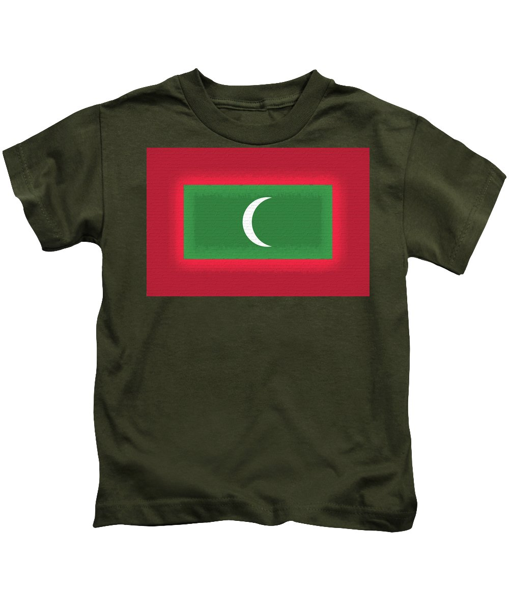 Asia Kids T-Shirt featuring the digital art Flag Of The Maldives Wall. by Roy Pedersen
