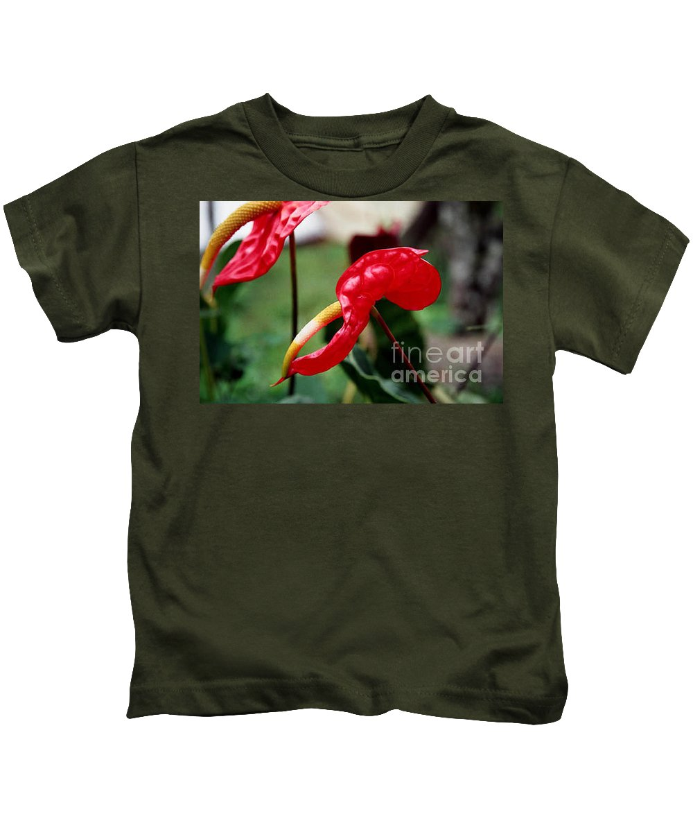 Exotic Flowers Kids T-Shirt featuring the photograph Flamingo Flower by Kathy McClure