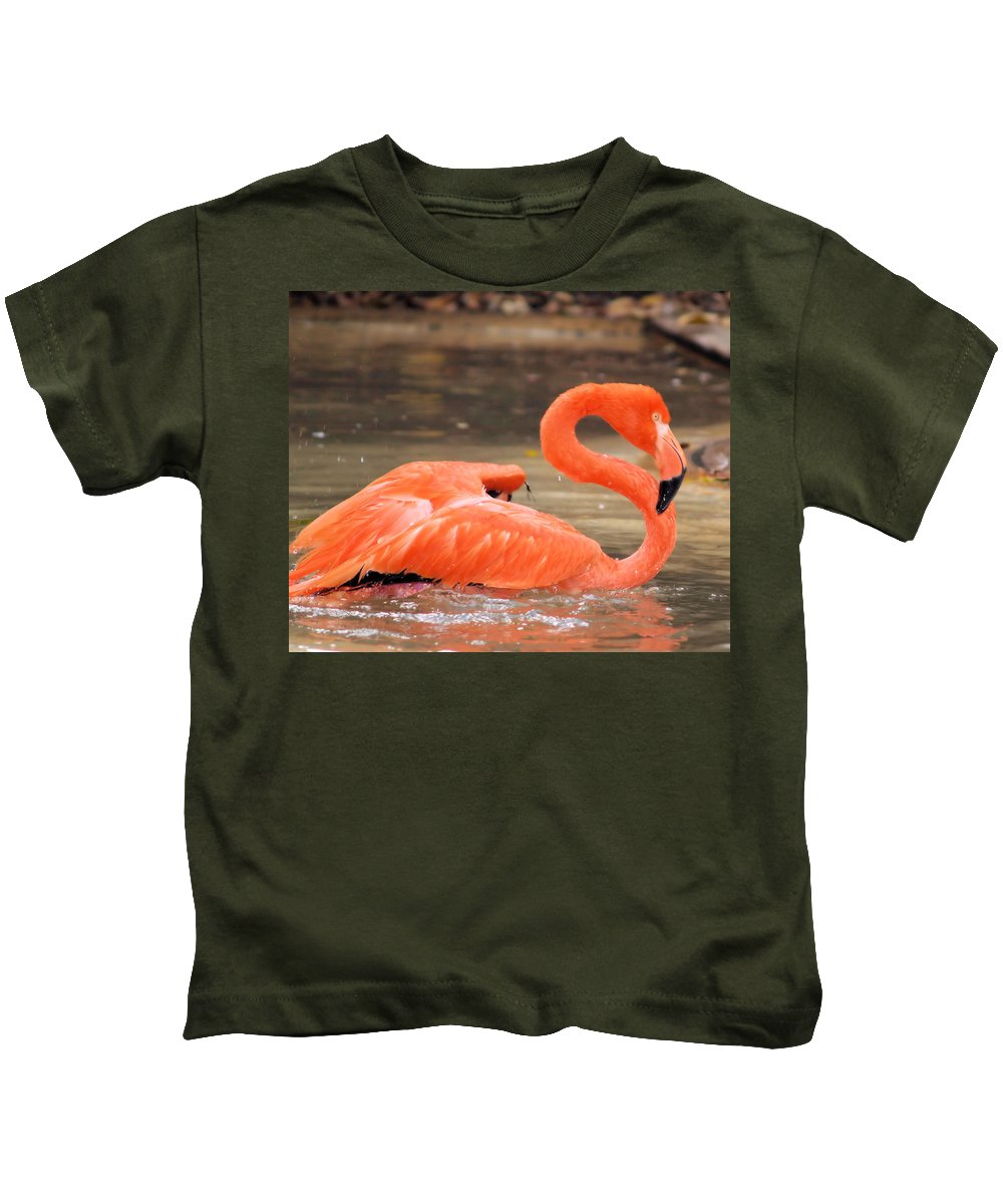 Flamingo Kids T-Shirt featuring the photograph Flamingo by Gaby Swanson