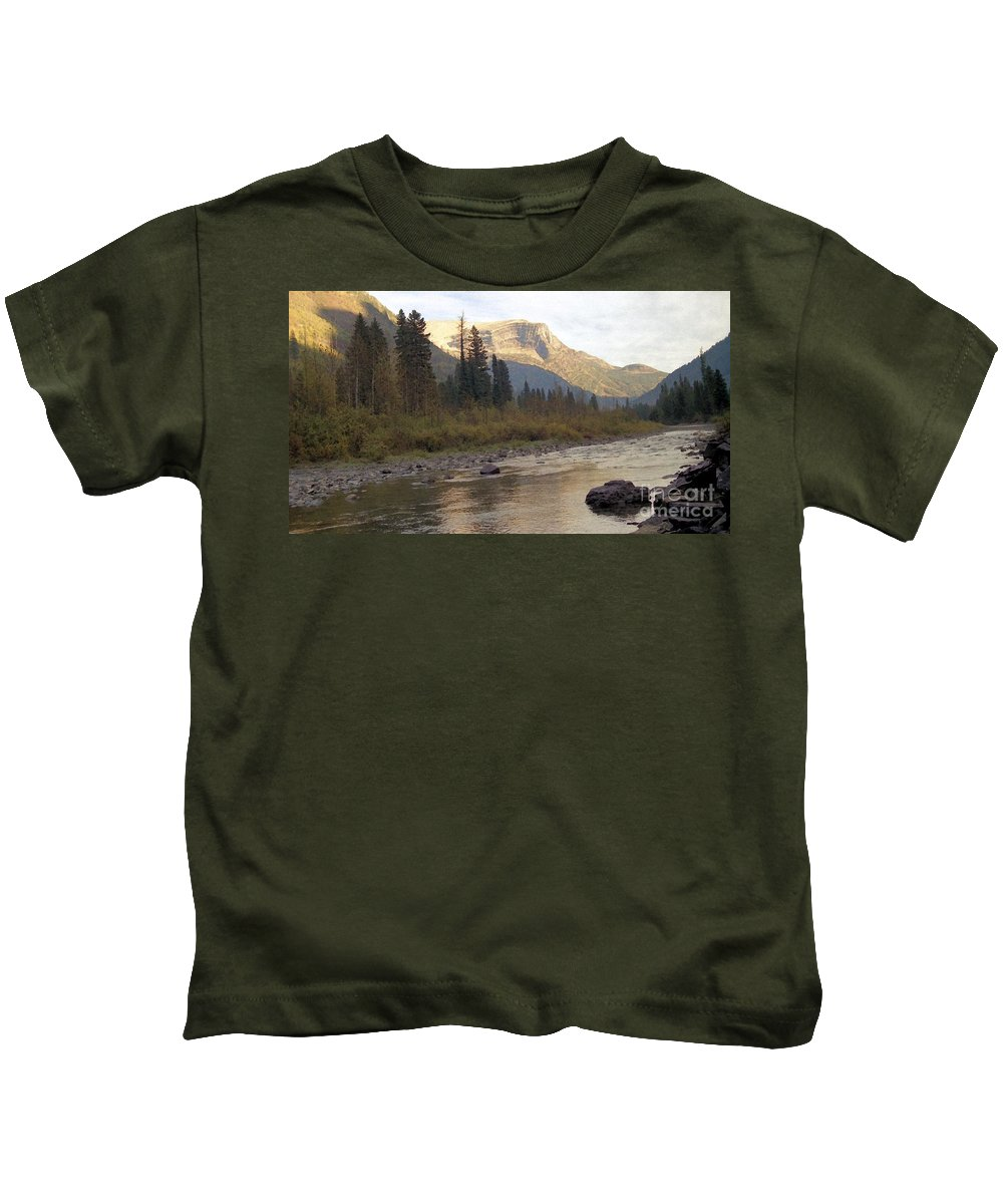 Flathead River Kids T-Shirt featuring the mixed media Flathead River by Richard Rizzo