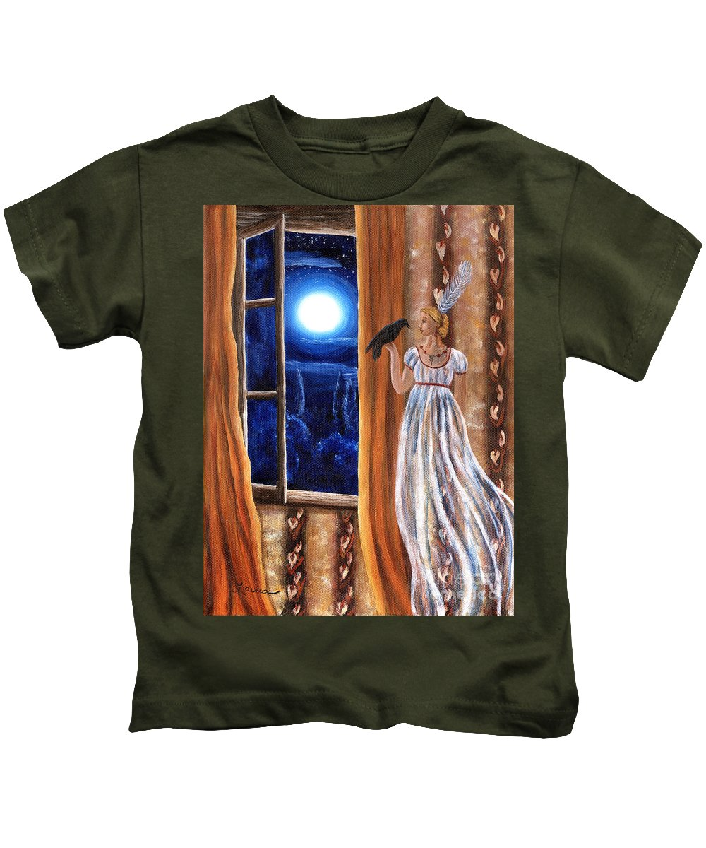 Landscape Kids T-Shirt featuring the painting Flirt And Flutter by Laura Iverson
