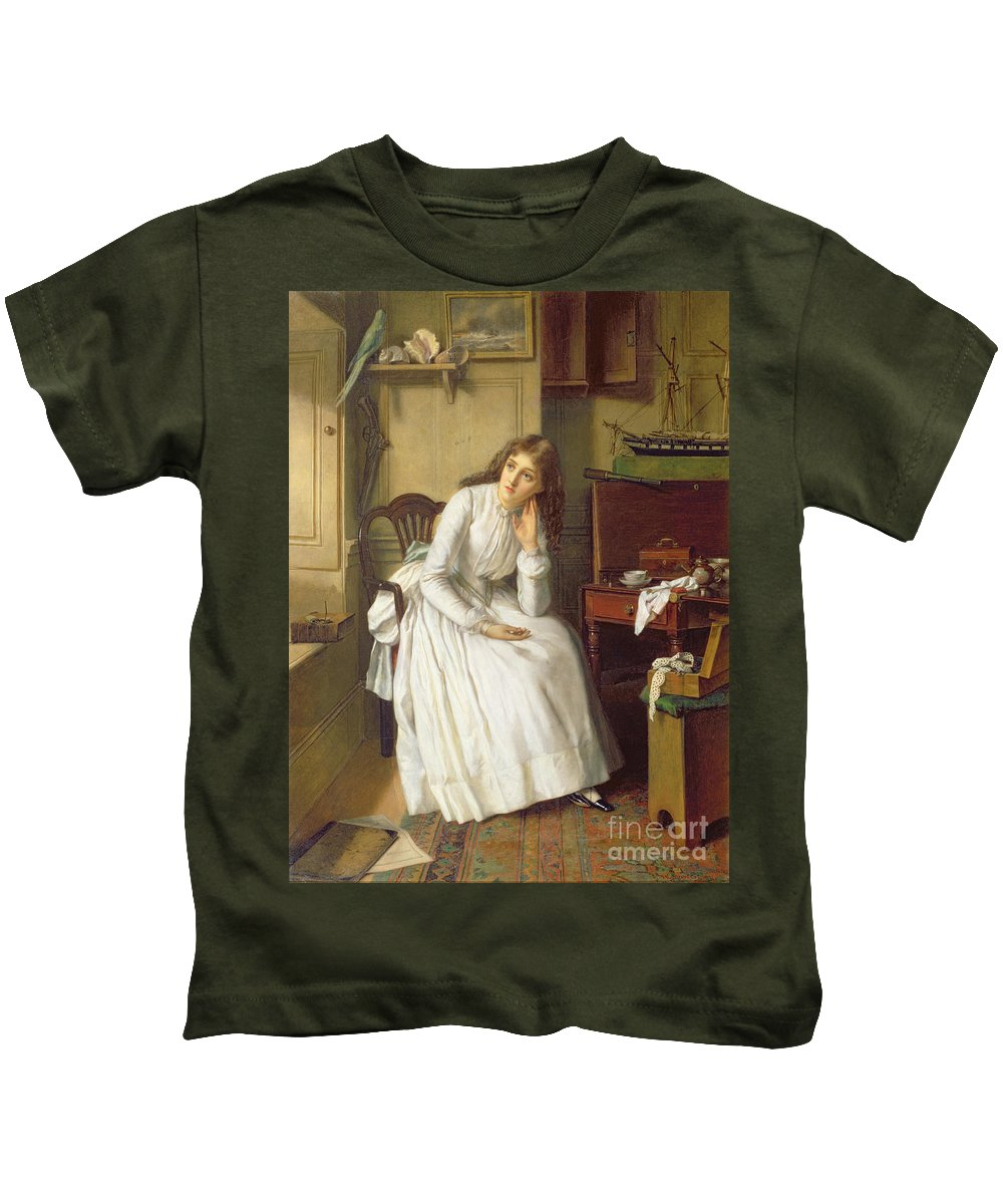 Dickens Kids T-Shirt featuring the painting Flo Dombey In Captain Cuttle's Parlour by William Maw Egley