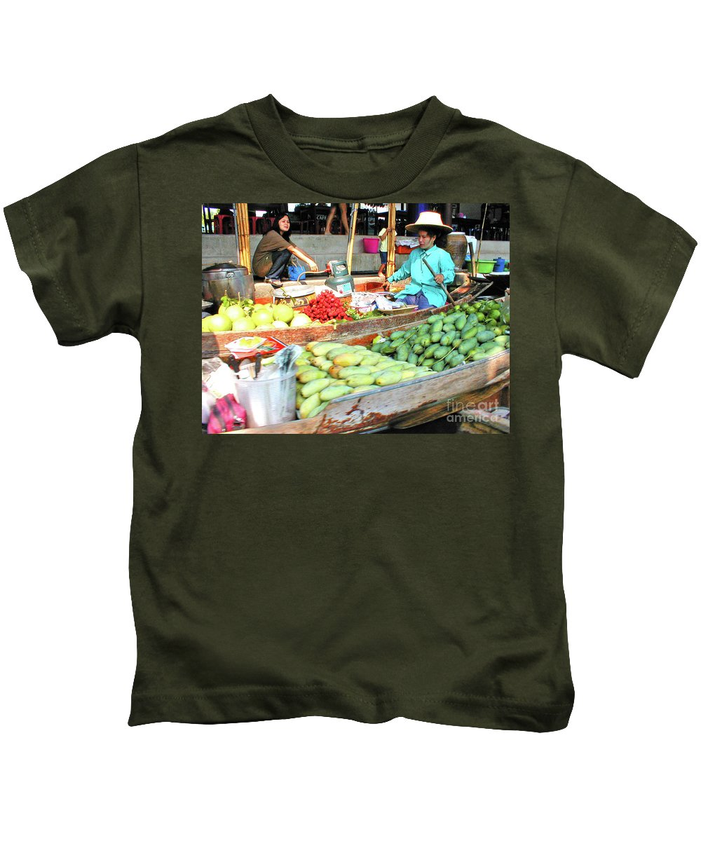 Thailand Kids T-Shirt featuring the photograph Floating Market In Thailand by Eunice Warfel