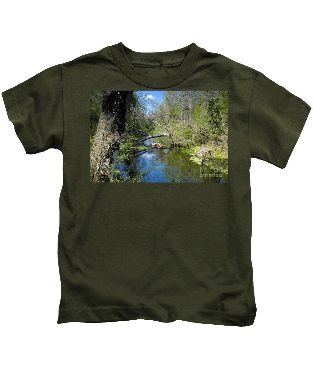 Ichetucknee River Florida Kids T-Shirt featuring the photograph Floating The Iche by David Lee Thompson