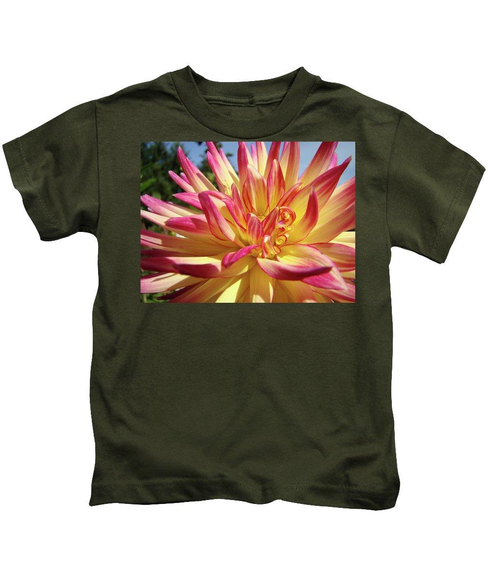 Dahlia Kids T-Shirt featuring the photograph Floral Art Prints Bright Dahlia Flower Canvas Baslee Troutman by Baslee Troutman