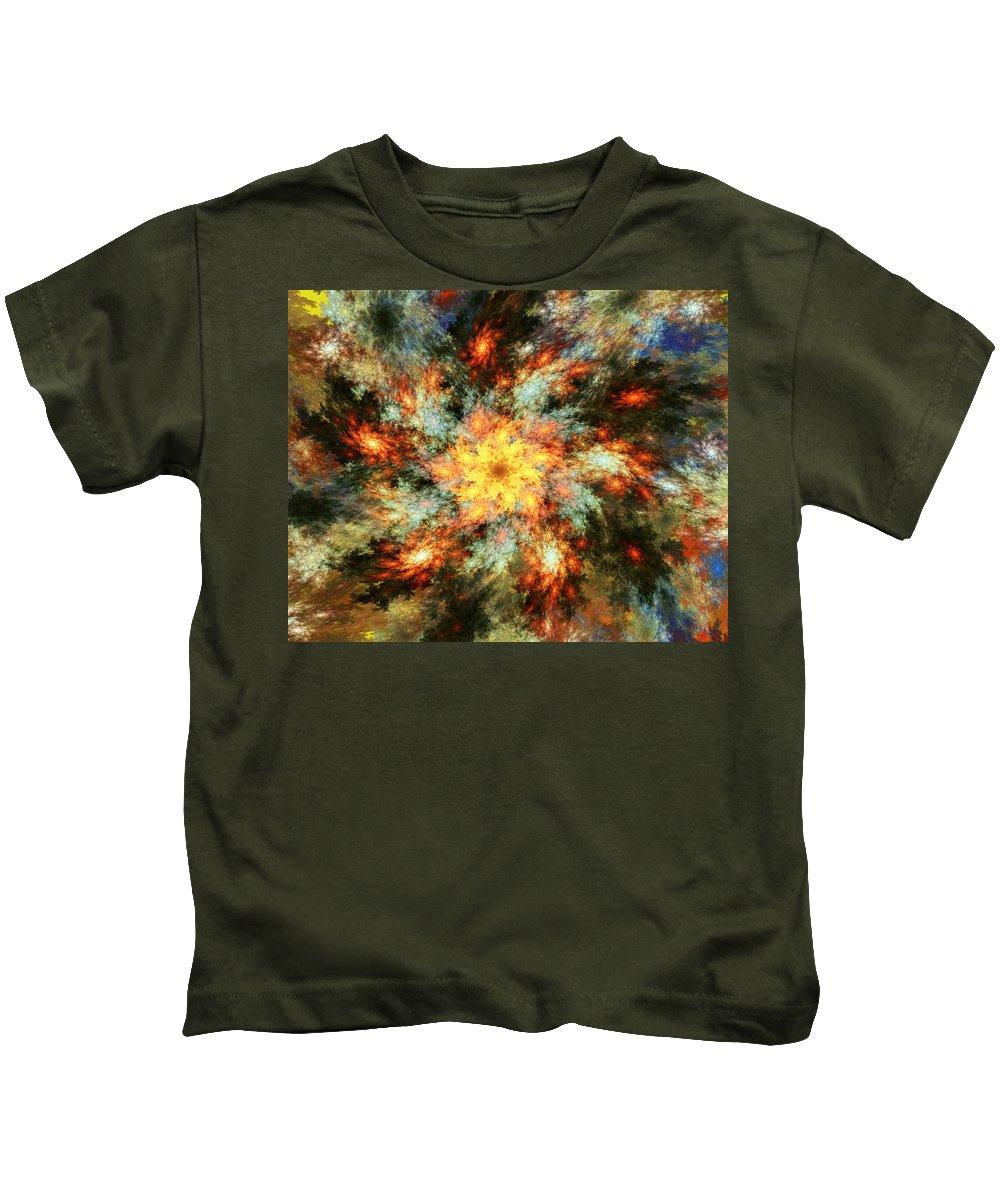 Fine Art Kids T-Shirt featuring the digital art Floral Fantasy 072010 by David Lane