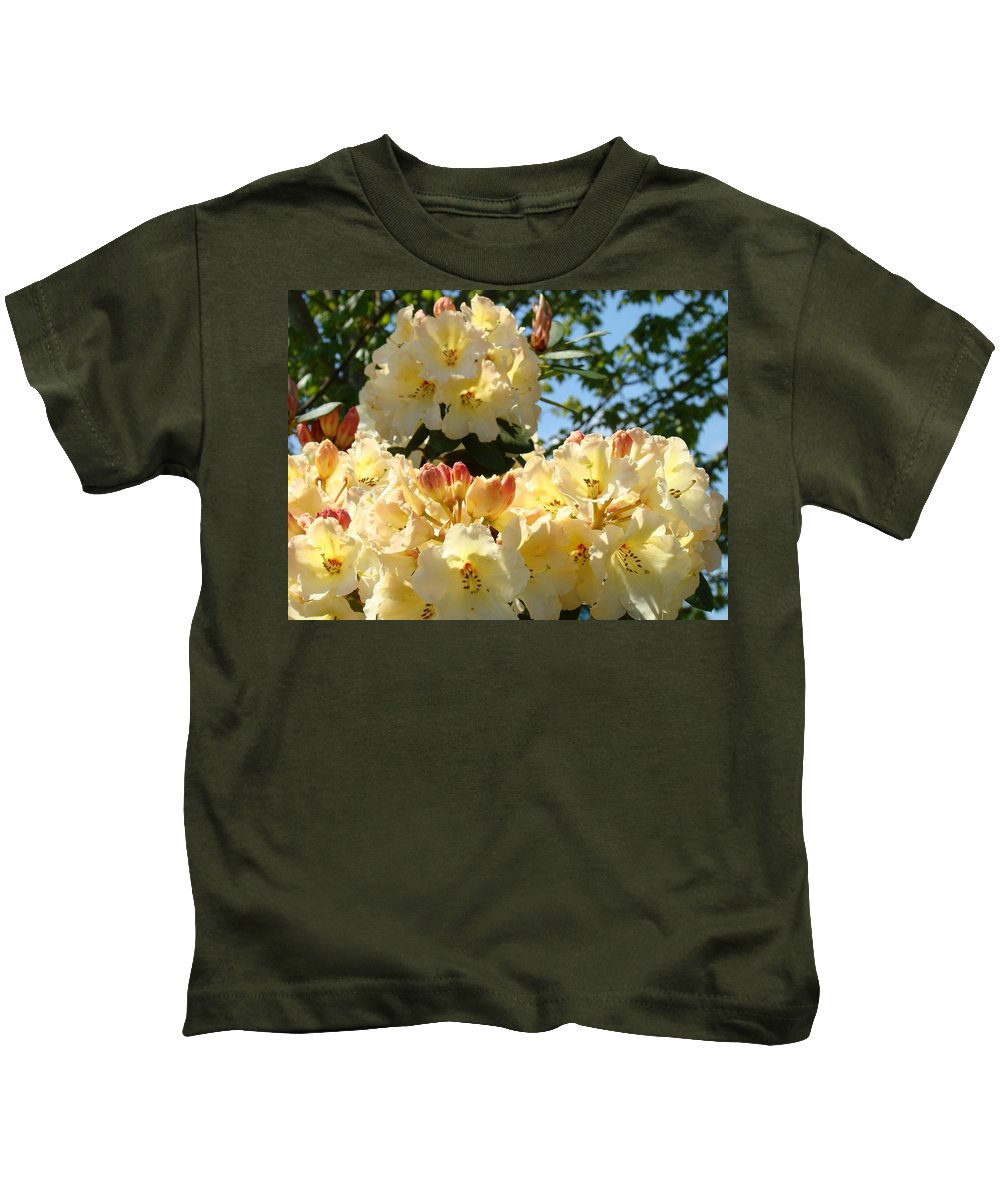 Rhodies Kids T-Shirt featuring the photograph Floral Rhododendrons Fine Art Photography Art Prints Baslee Troutman by Baslee Troutman