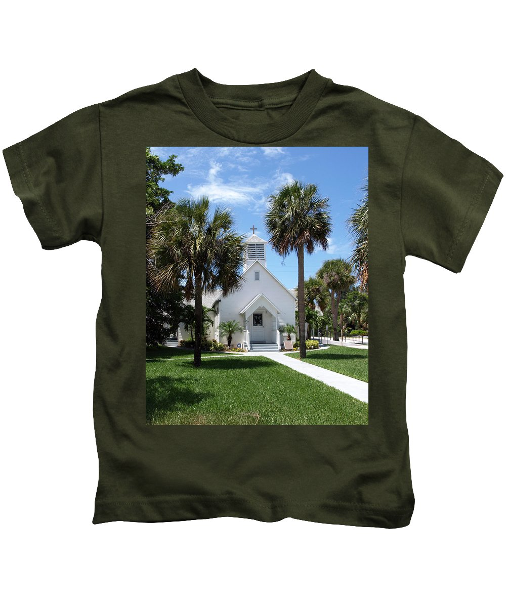 Chapel; Community; Melbourne; Beach; Florida; Melbourne Beach; Church; Congregationalist; Worship; M Kids T-Shirt featuring the photograph Florida Community Chapel by Allan Hughes