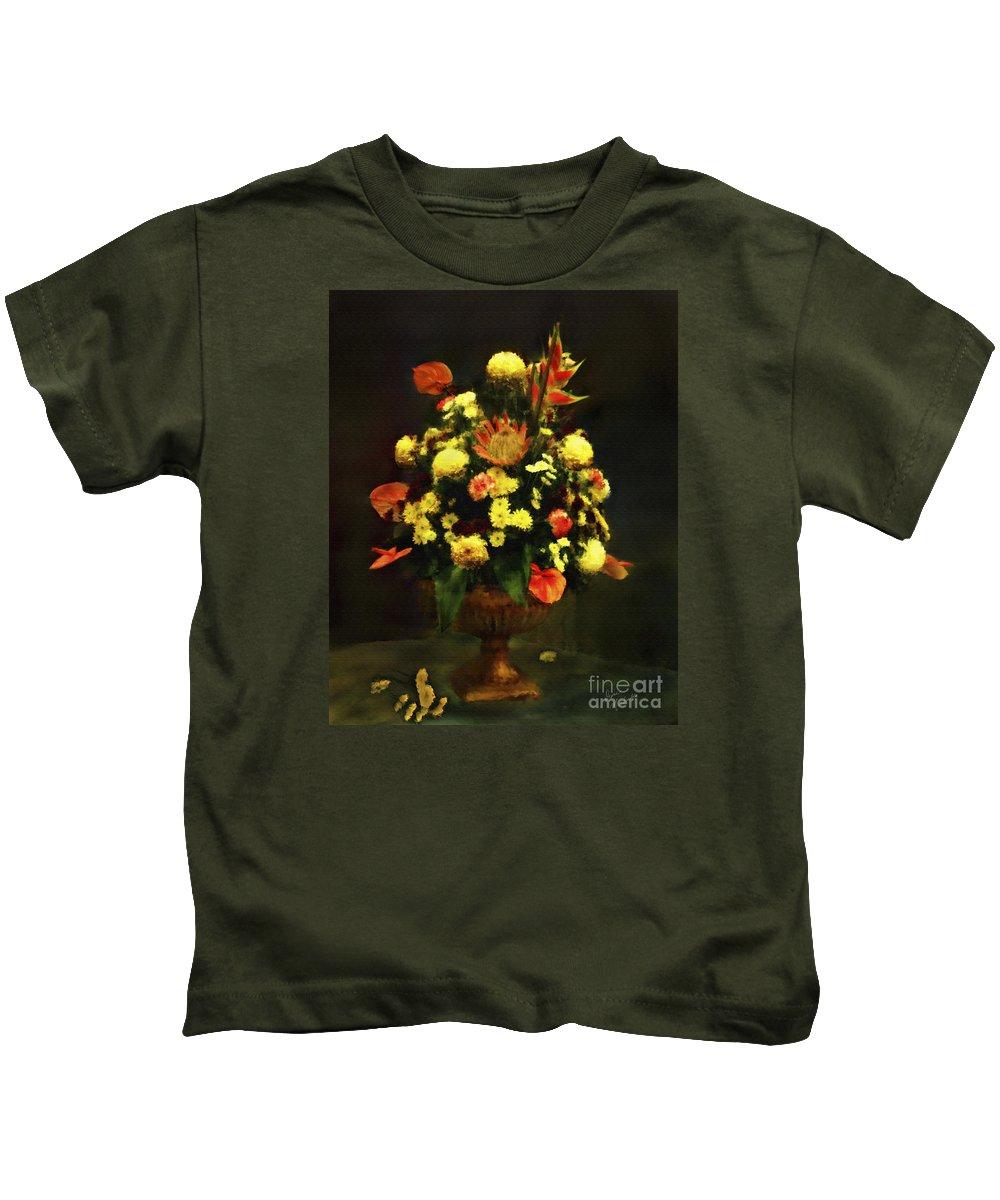 Flowers Kids T-Shirt featuring the digital art Flower Arrangement by Diane Macdonald