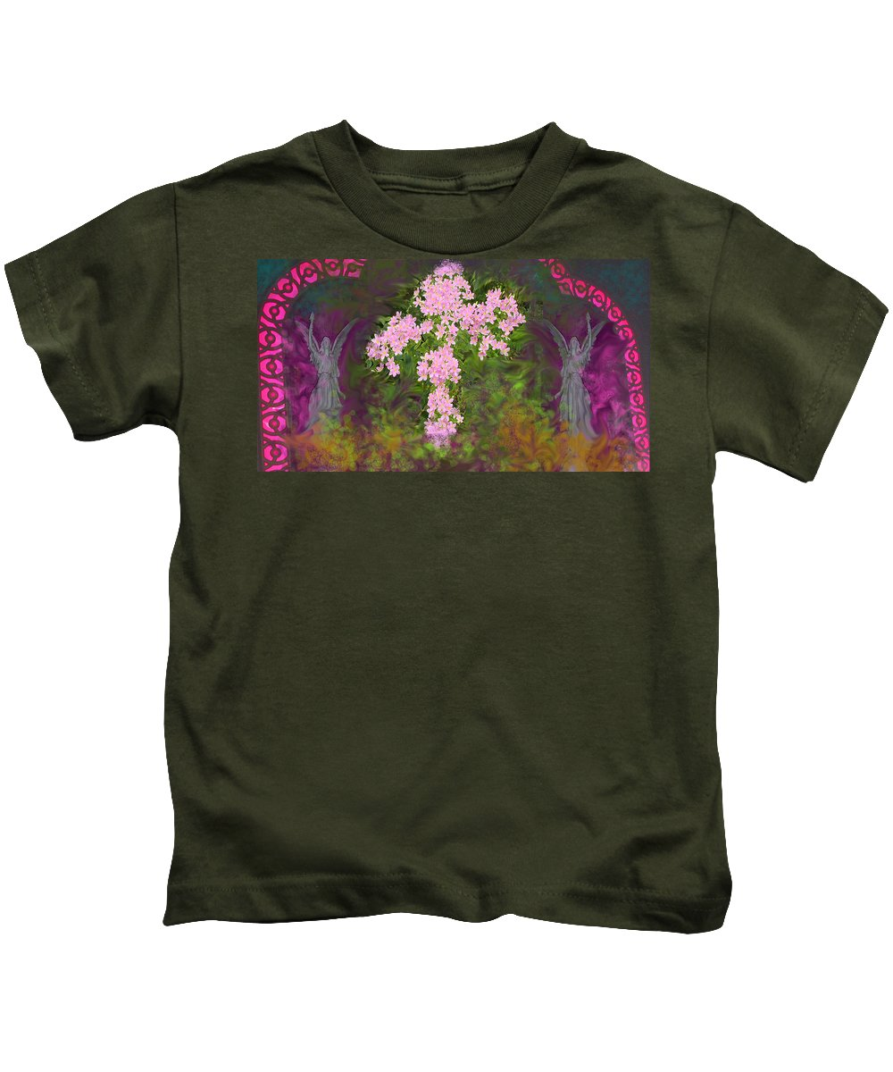 Flowers Kids T-Shirt featuring the mixed media Flower Cross Fancy by Anne Cameron Cutri