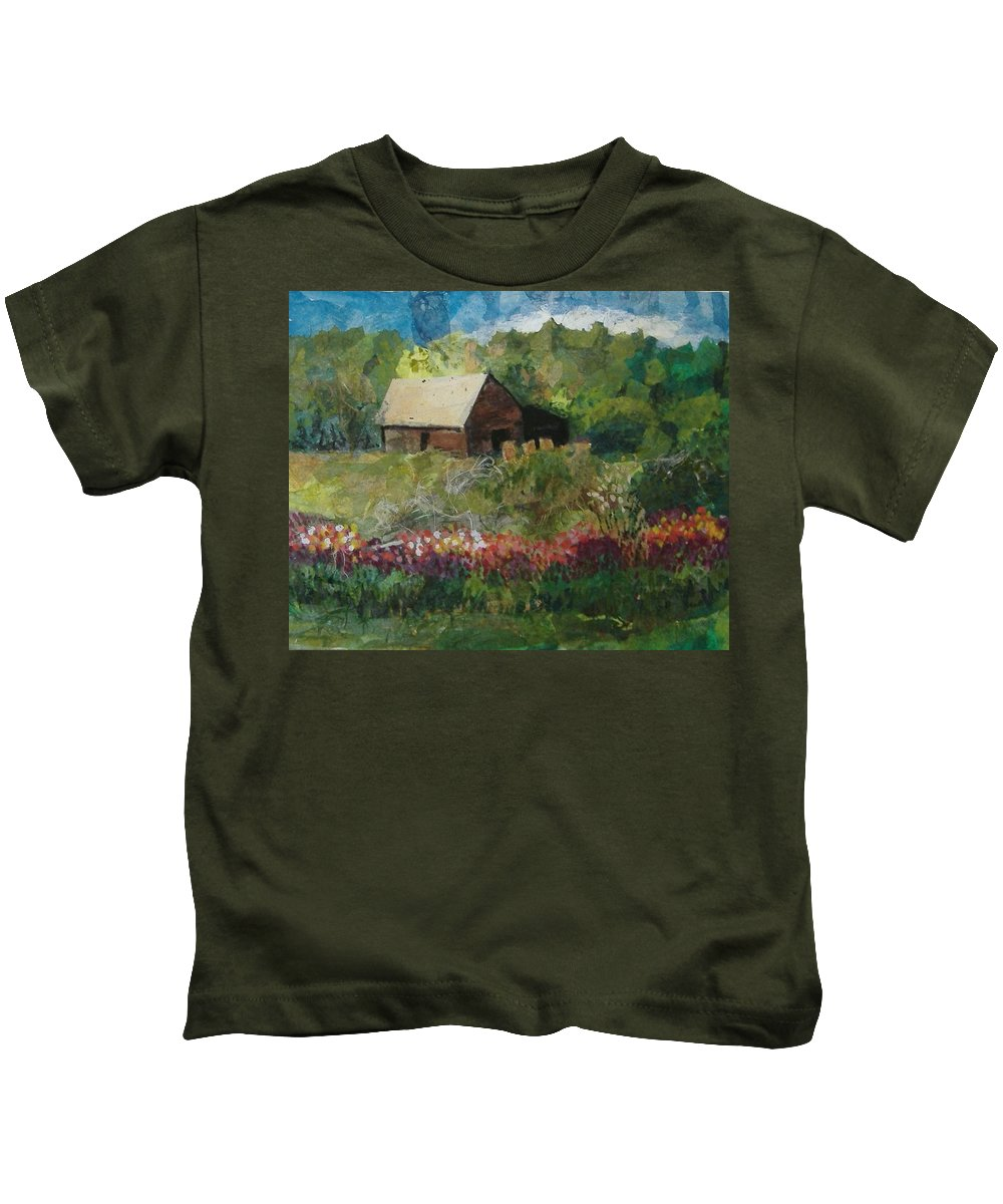 Landscape Kids T-Shirt featuring the mixed media Flower Farm by Pat Snook