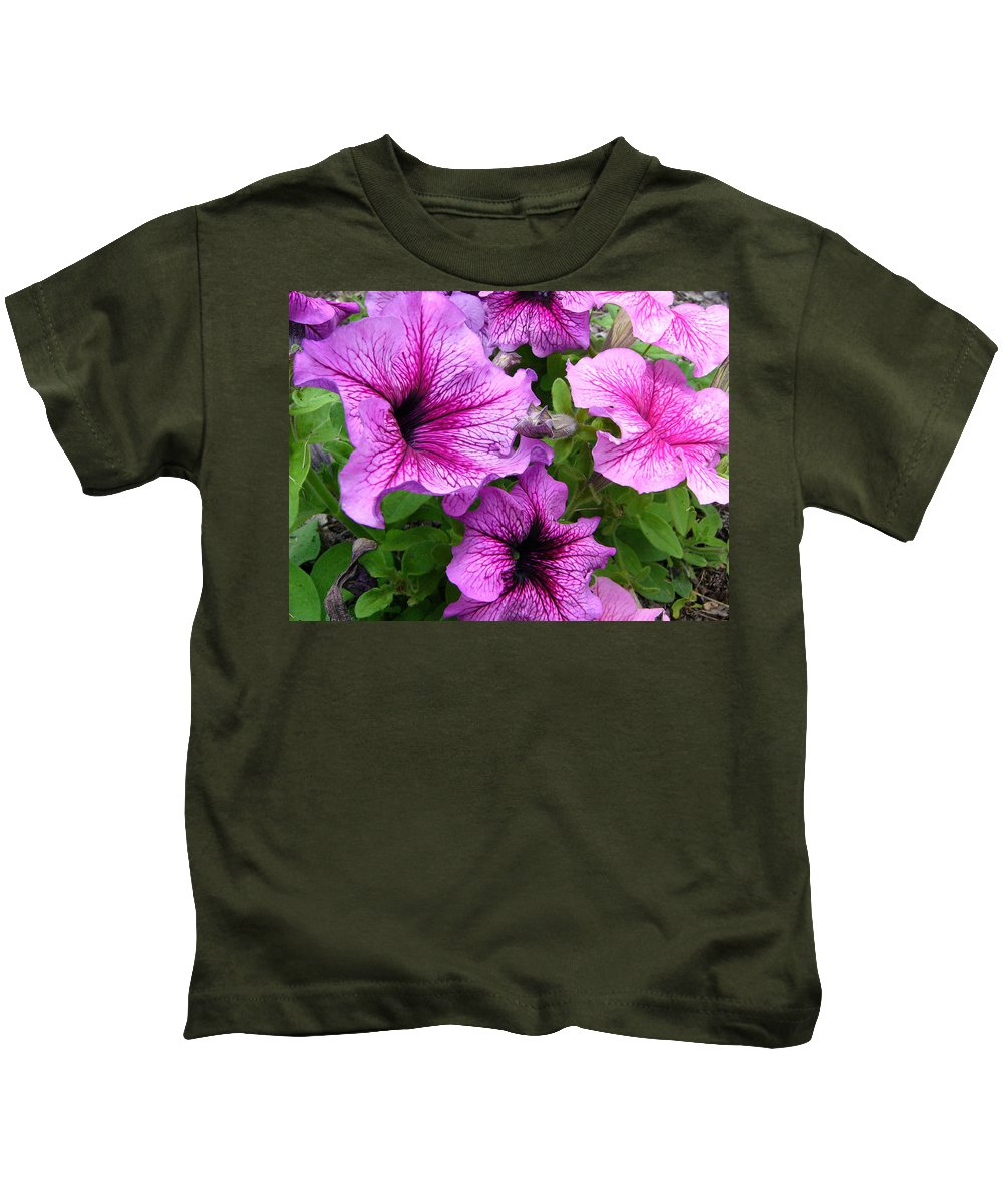 Flower Floral Leaves Pink Purple Garden Nature Green Petal Kids T-Shirt featuring the painting Flower Overload by Lisa Bates