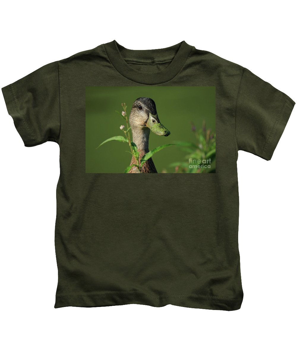 Duck Kids T-Shirt featuring the photograph Flower Picking by Karol Livote