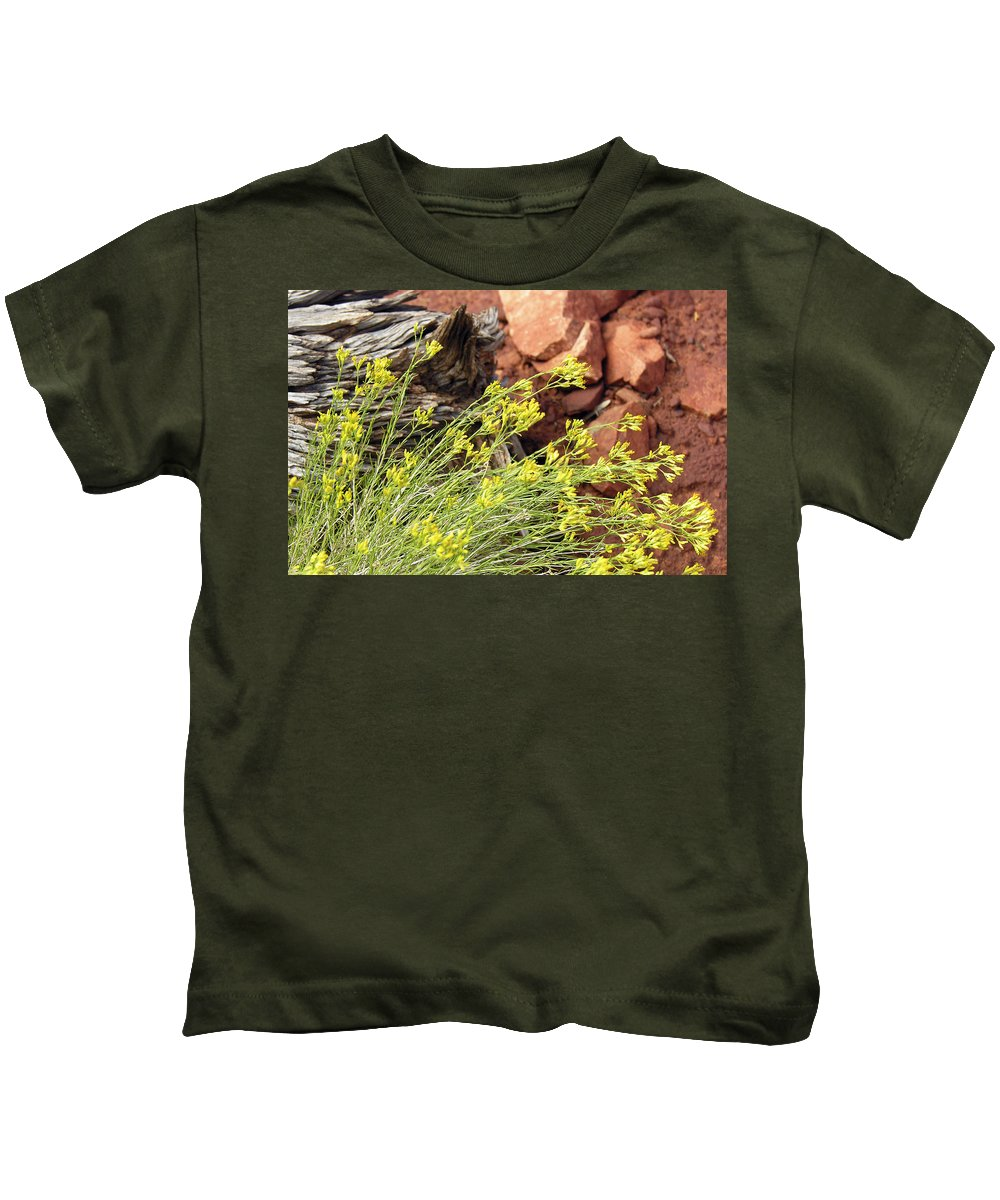 Flower Kids T-Shirt featuring the photograph Flower Wood And Rock by Marilyn Hunt