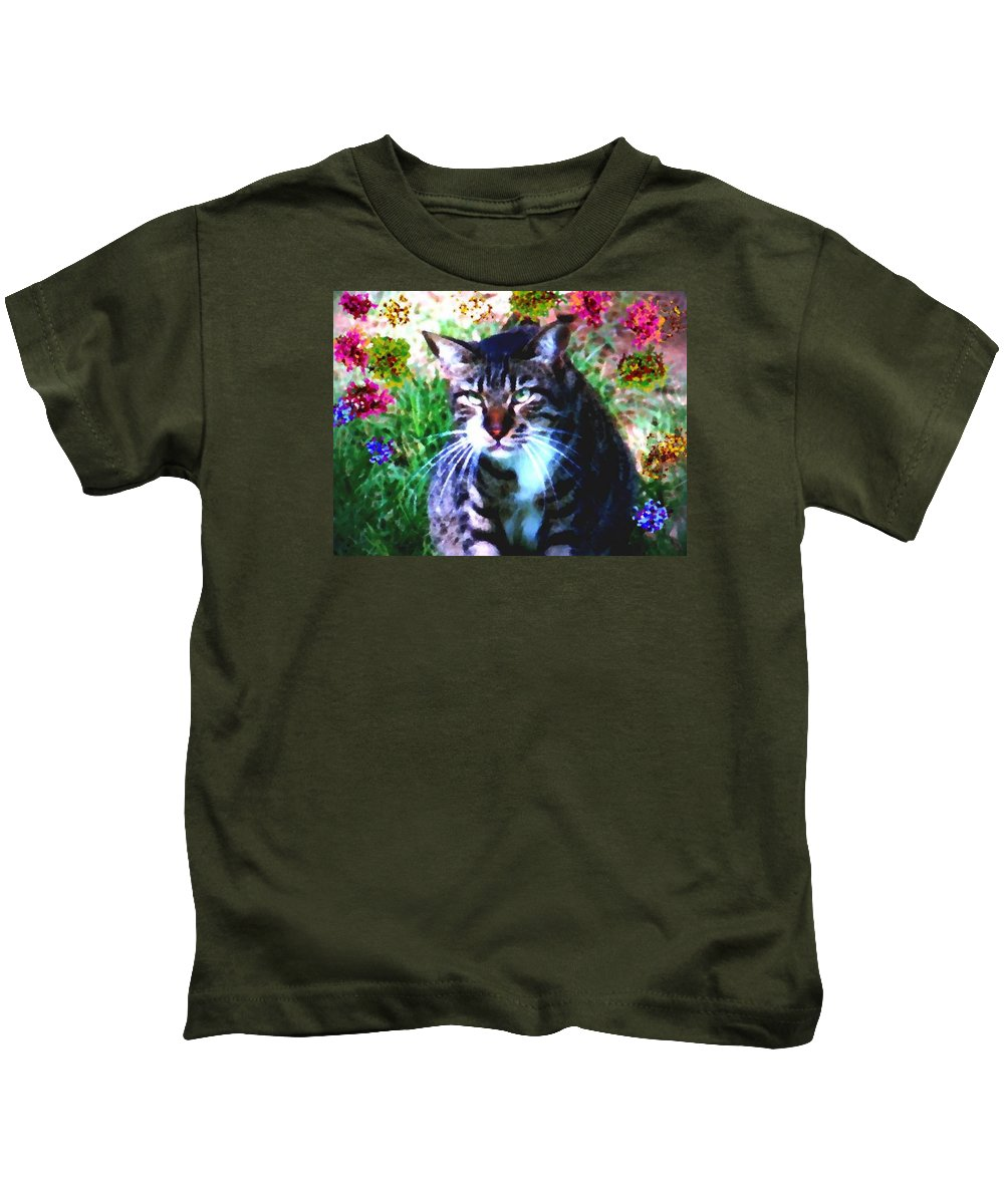 Cat Grey Attention Grass Flowers Nature Animals View Kids T-Shirt featuring the digital art Flowers And Cat by Dr Loifer Vladimir