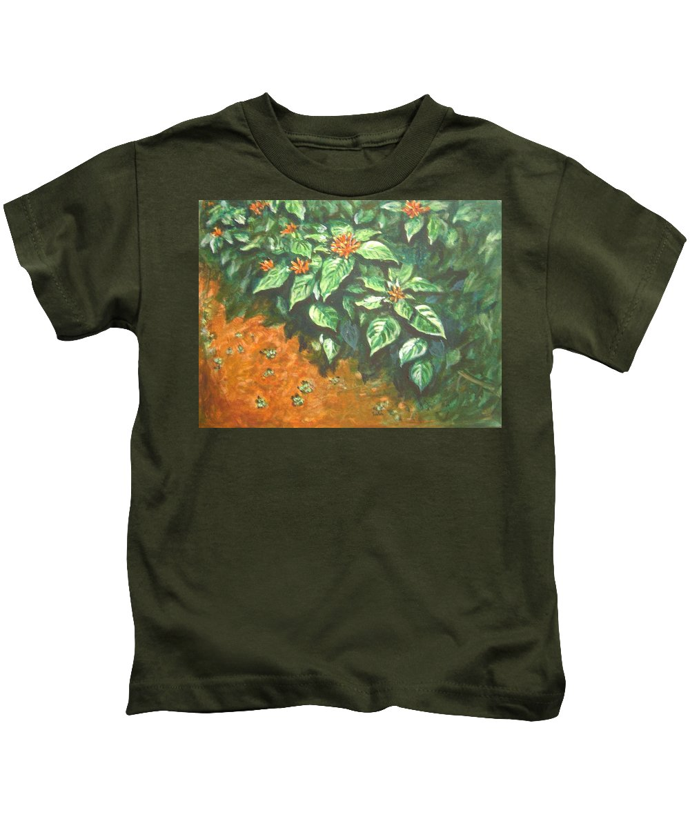 Orange Kids T-Shirt featuring the painting Flowers And Earth by Usha Shantharam
