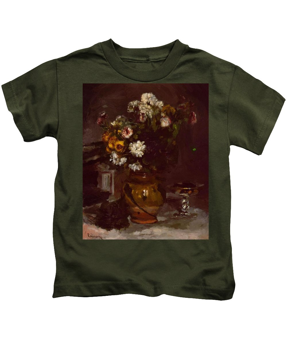 Flowers Kids T-Shirt featuring the painting Flowers In A Vase And A Glass Of Champagne by Renoir PierreAuguste