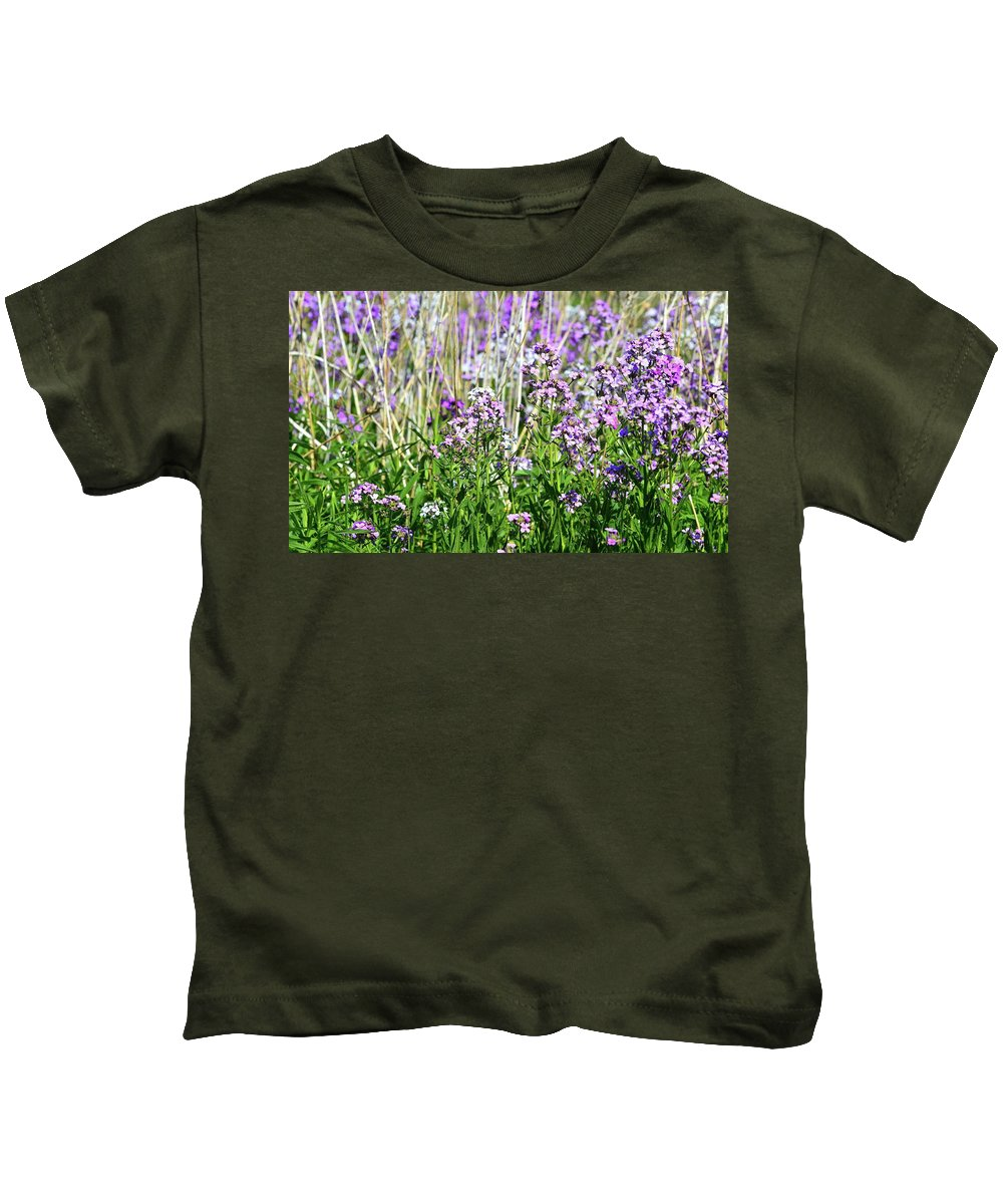 Abstract Kids T-Shirt featuring the photograph Flowers In The Field by Lyle Crump
