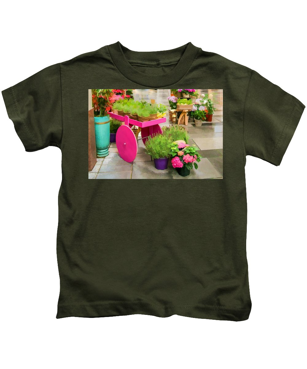 Flowers Kids T-Shirt featuring the digital art Flowers In Vienna by Lisa Lemmons-Powers