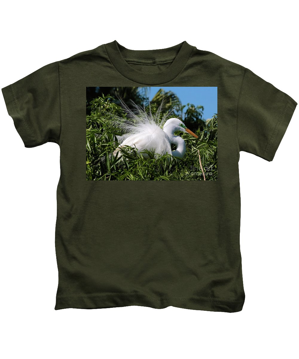 Egret Kids T-Shirt featuring the photograph Fluffy Great Egret by Carol Groenen