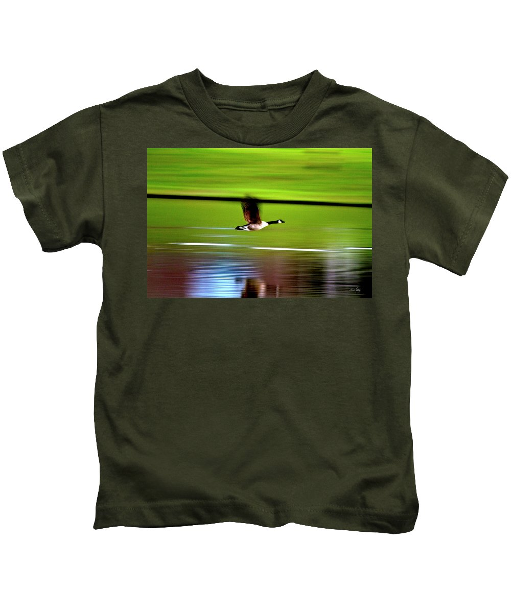 Goose Kids T-Shirt featuring the photograph Fly-by by Scott Pellegrin