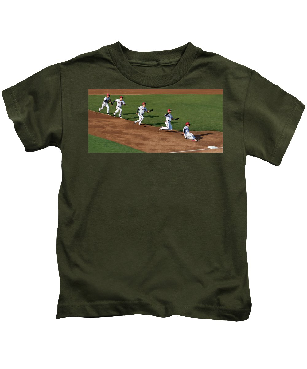 Baseball Kids T-Shirt featuring the photograph Flying To Third by Art Cole