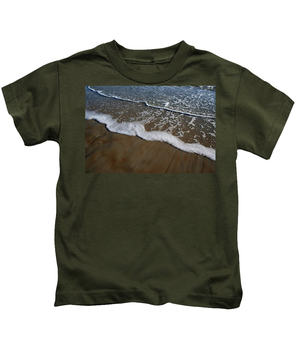 Beach Sand Wave Waves Foam Foamy White Sunny Clear Water Ocean Kids T-Shirt featuring the photograph Foamy Water by Andrei Shliakhau