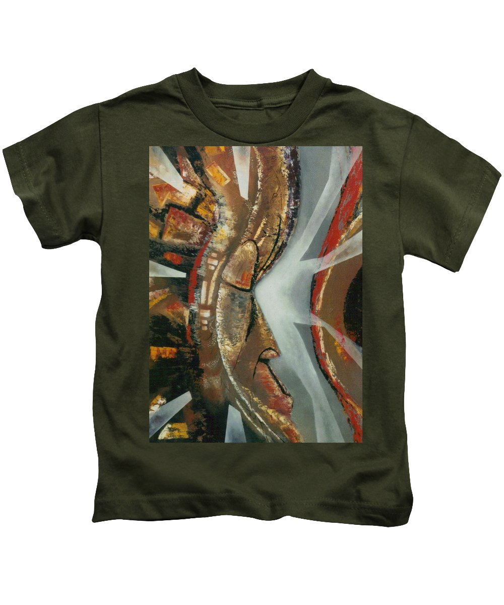 African Mask Kids T-Shirt featuring the painting Focus And Determination by Hasaan Kirkland